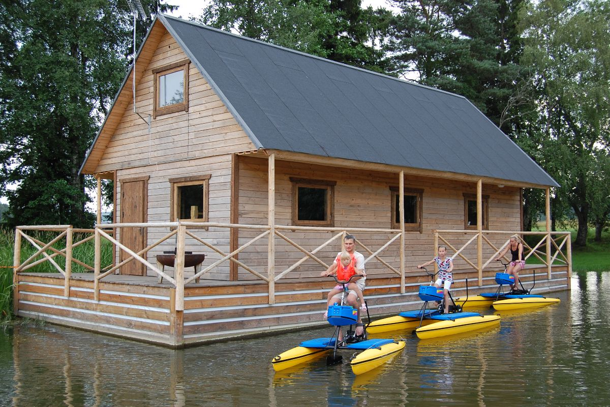 Ferry house with water bicycles