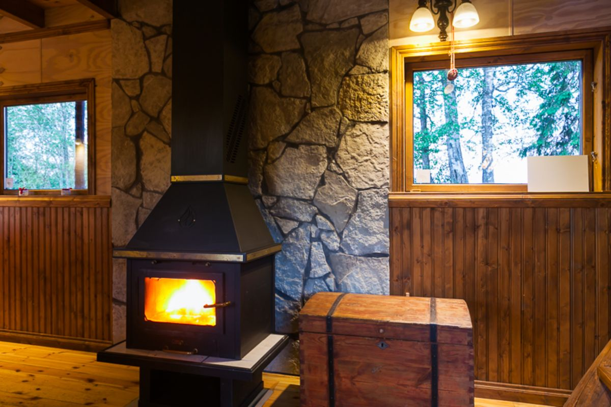 Small Flood House Fireplace