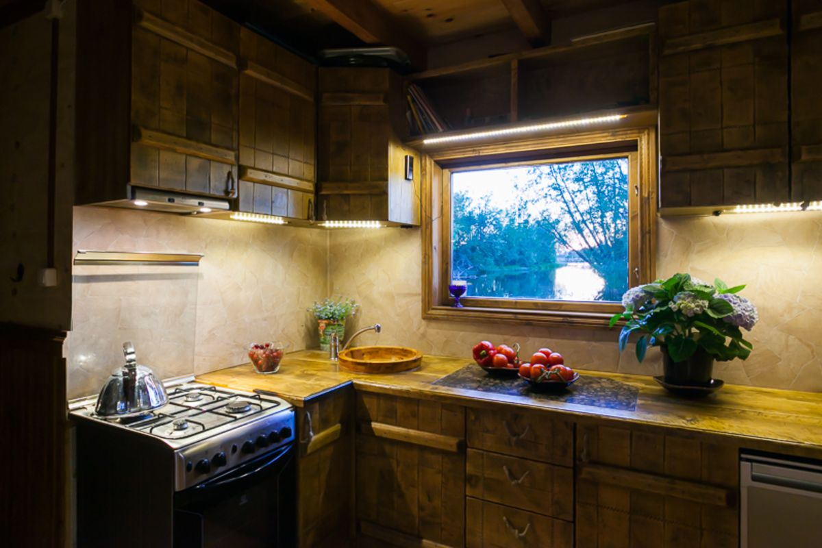 A small raft house kitchen