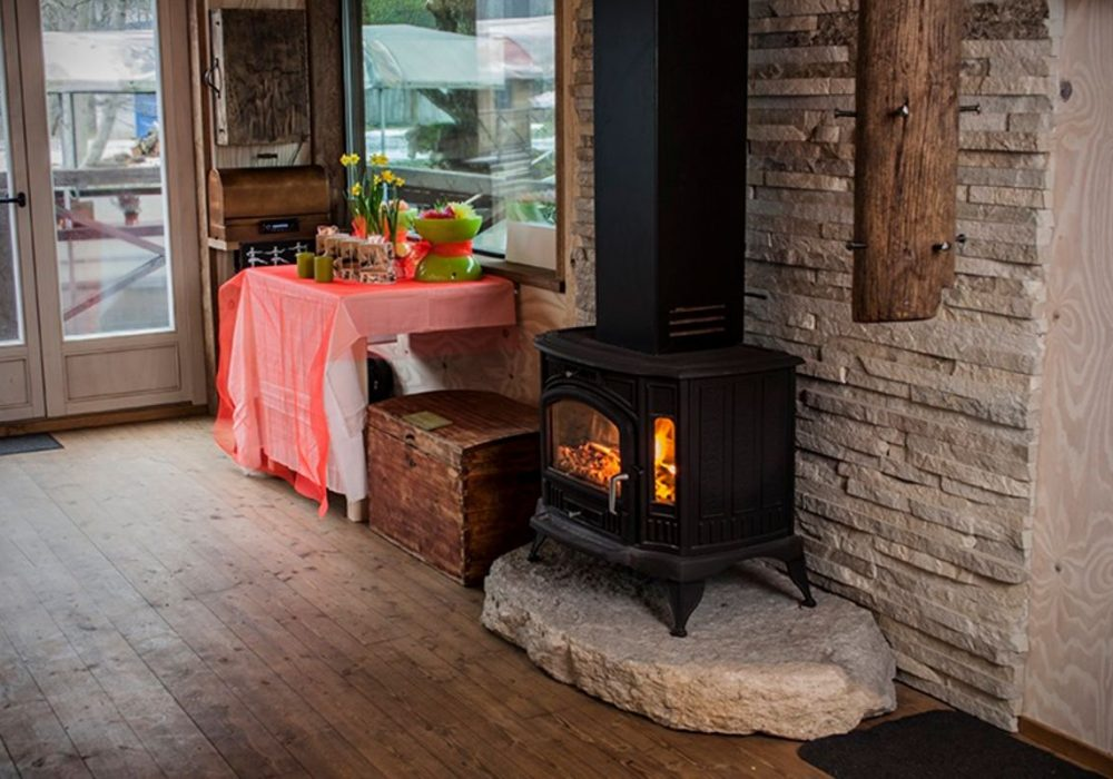 Large raft house fireplace