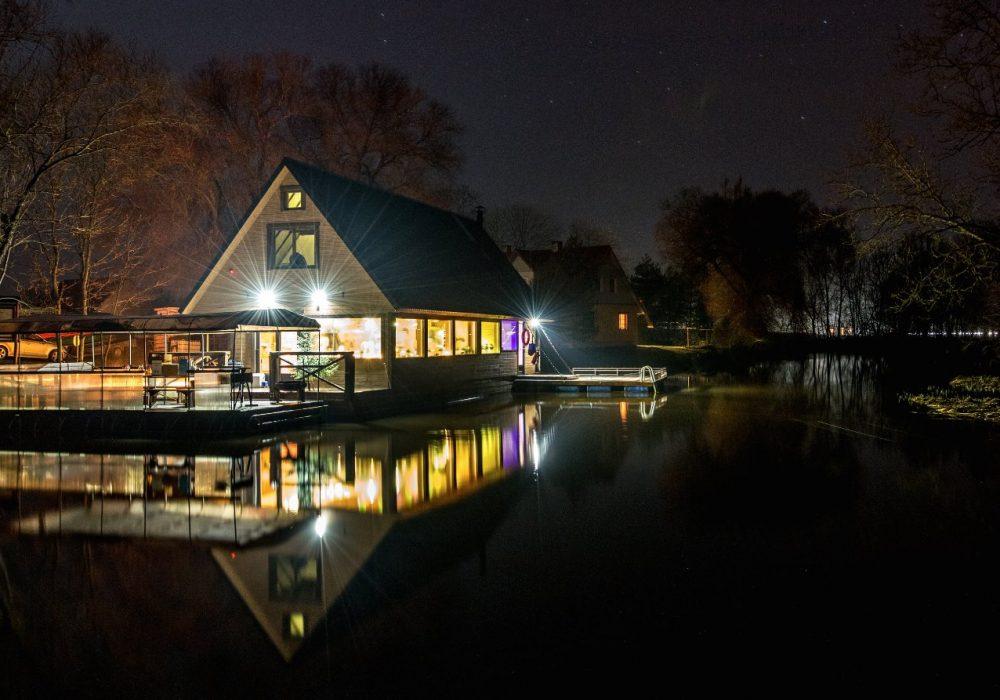 Big Flood House at night